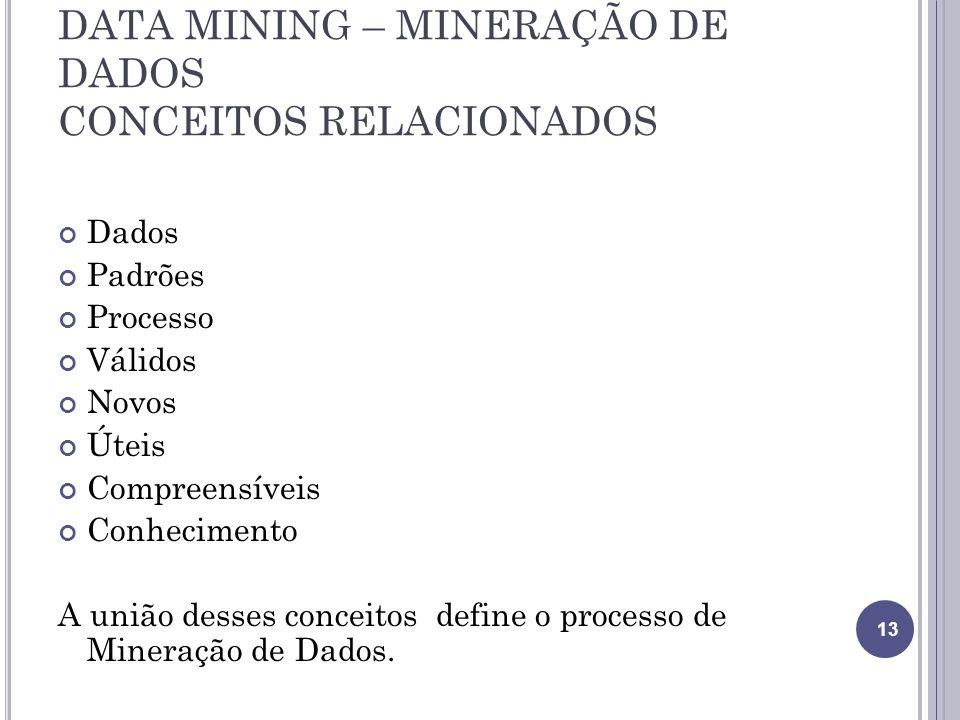 DATA MINING – MINERAÇÃO DE DADOS CONCEITOS RELACIONADOS