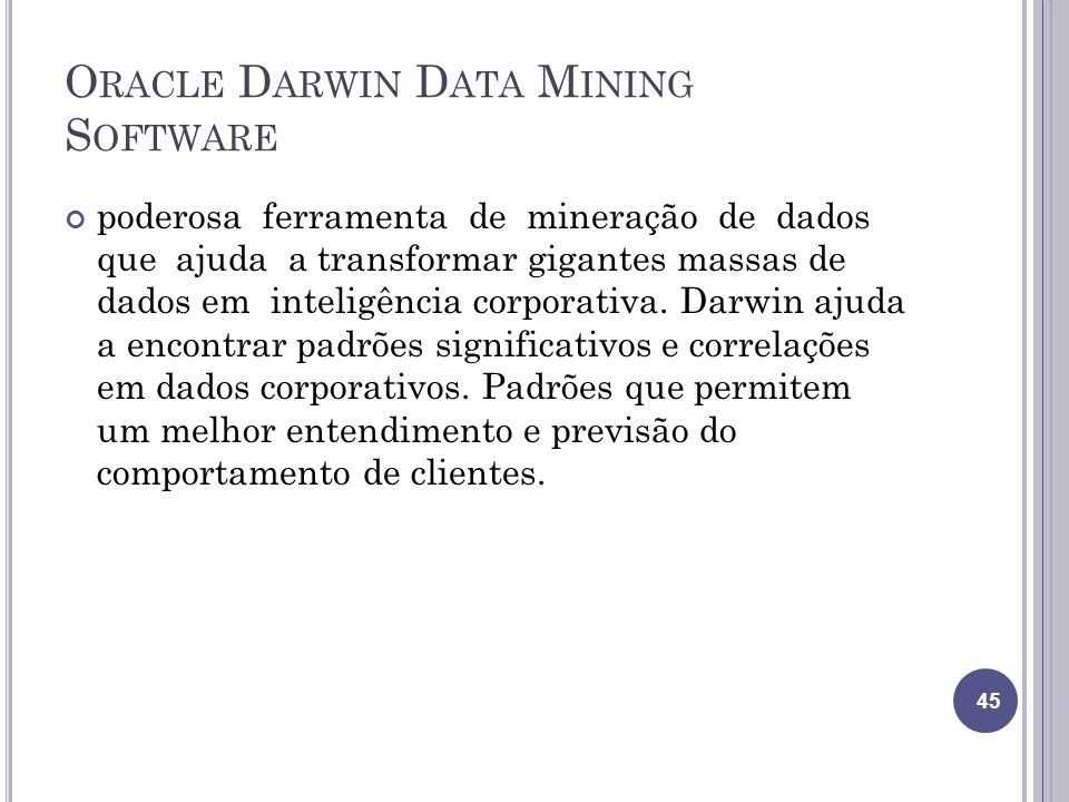 Oracle Darwin Data Mining Software
