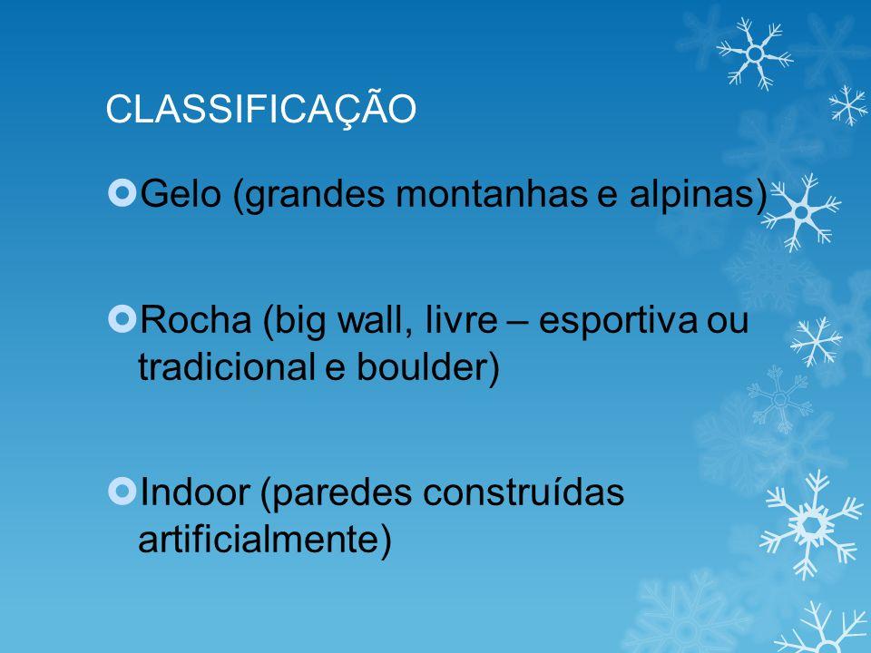 CLASSIFICAÇÃO Gelo (grandes montanhas e alpinas) Rocha (big wall, livre – esportiva ou tradicional e boulder)
