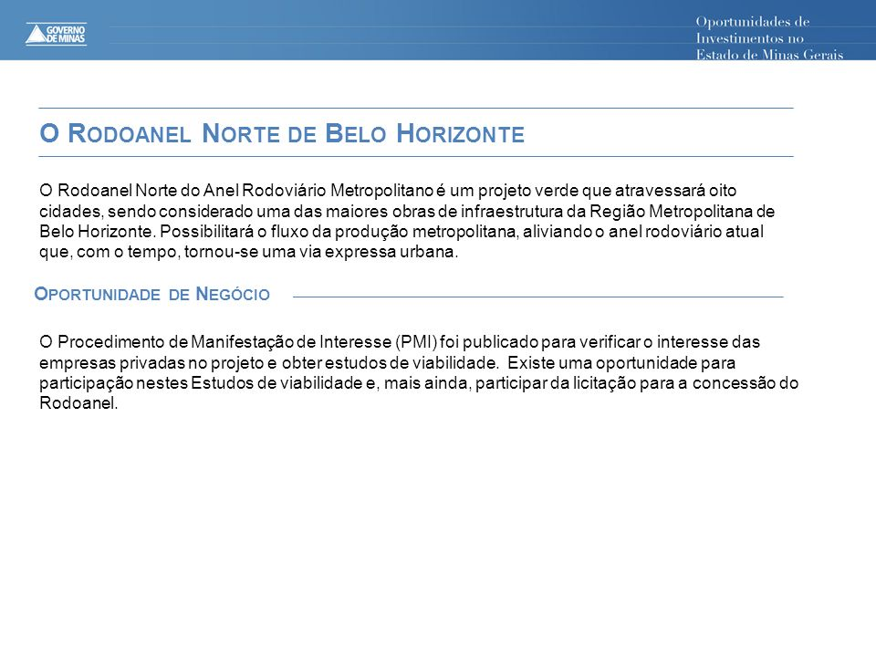O Rodoanel Norte de Belo Horizonte Oportunidade de Negócio