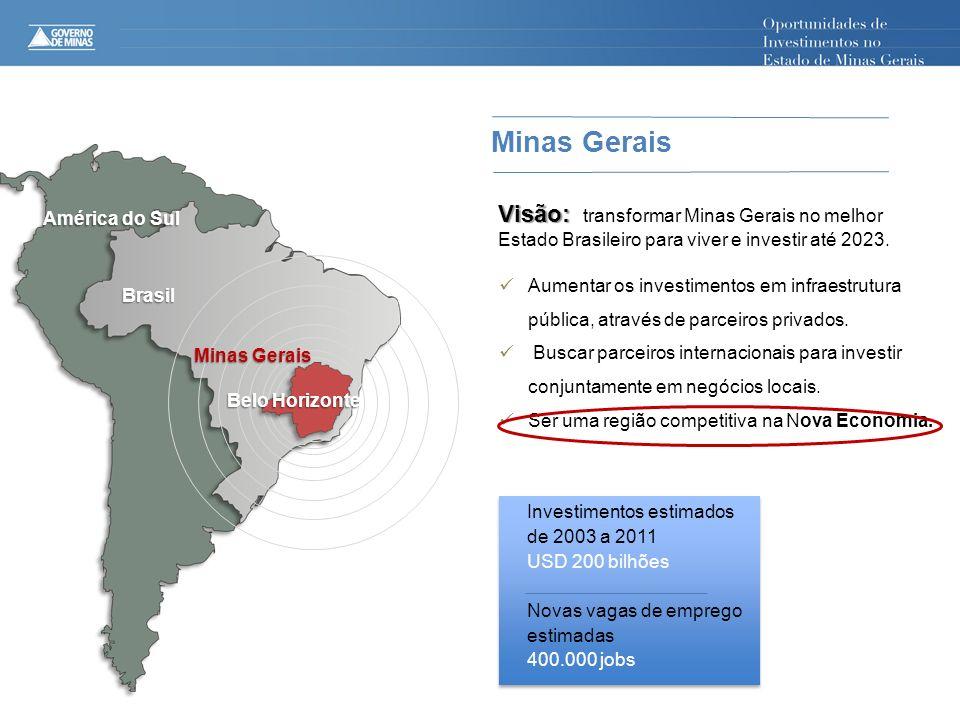 Minas Gerais Visão: transformar Minas Gerais no melhor América do Sul