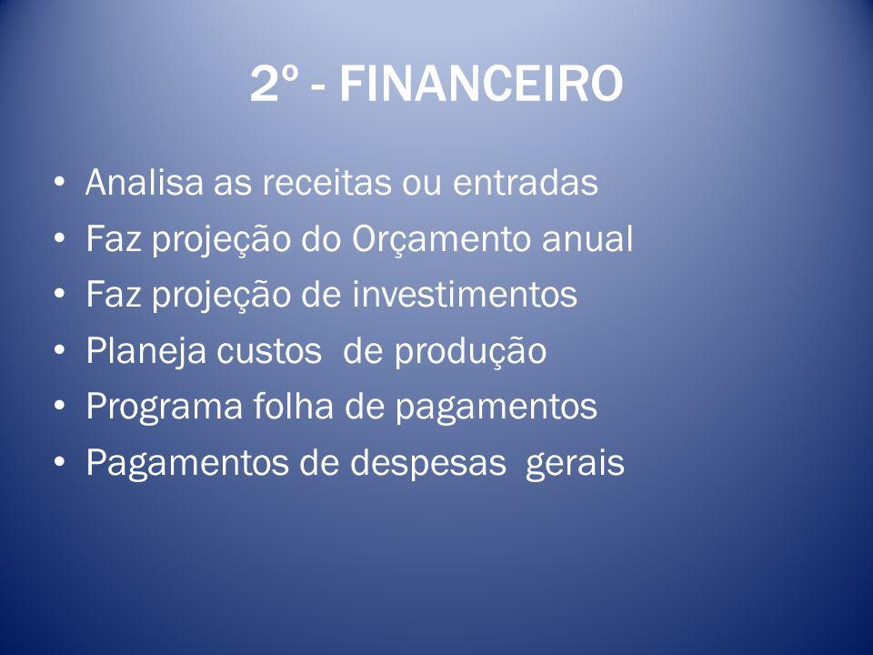 2º - FINANCEIRO Analisa as receitas ou entradas