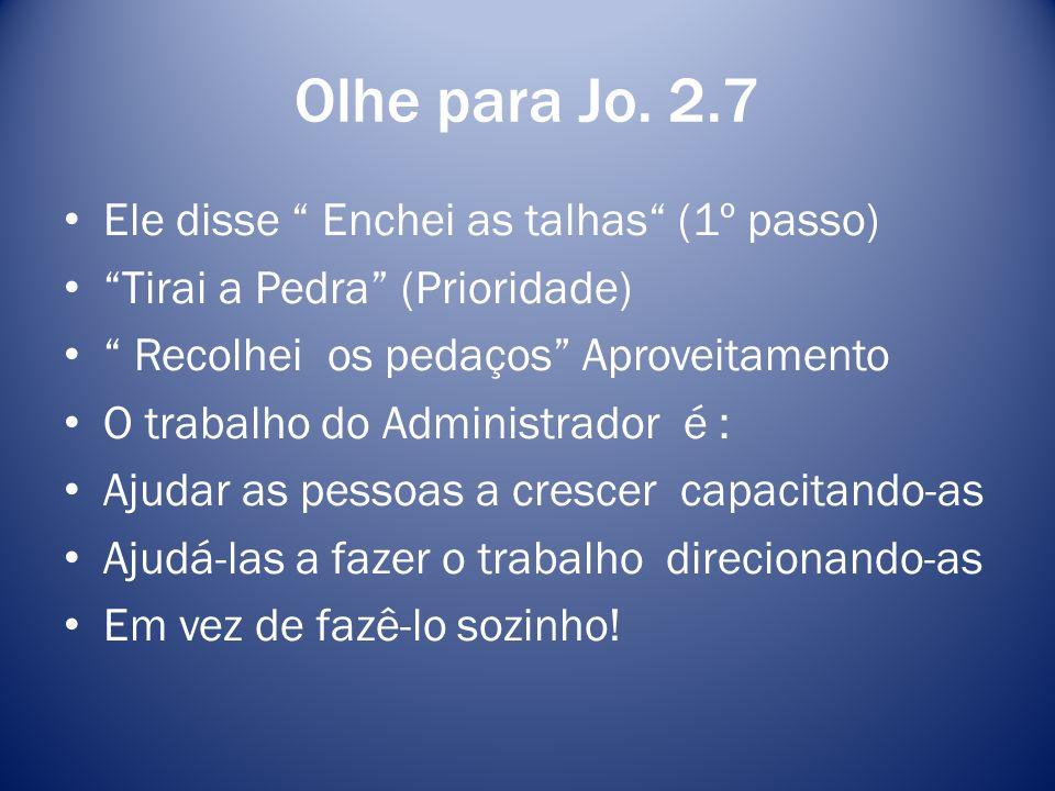 Olhe para Jo. 2.7 Ele disse Enchei as talhas (1º passo)