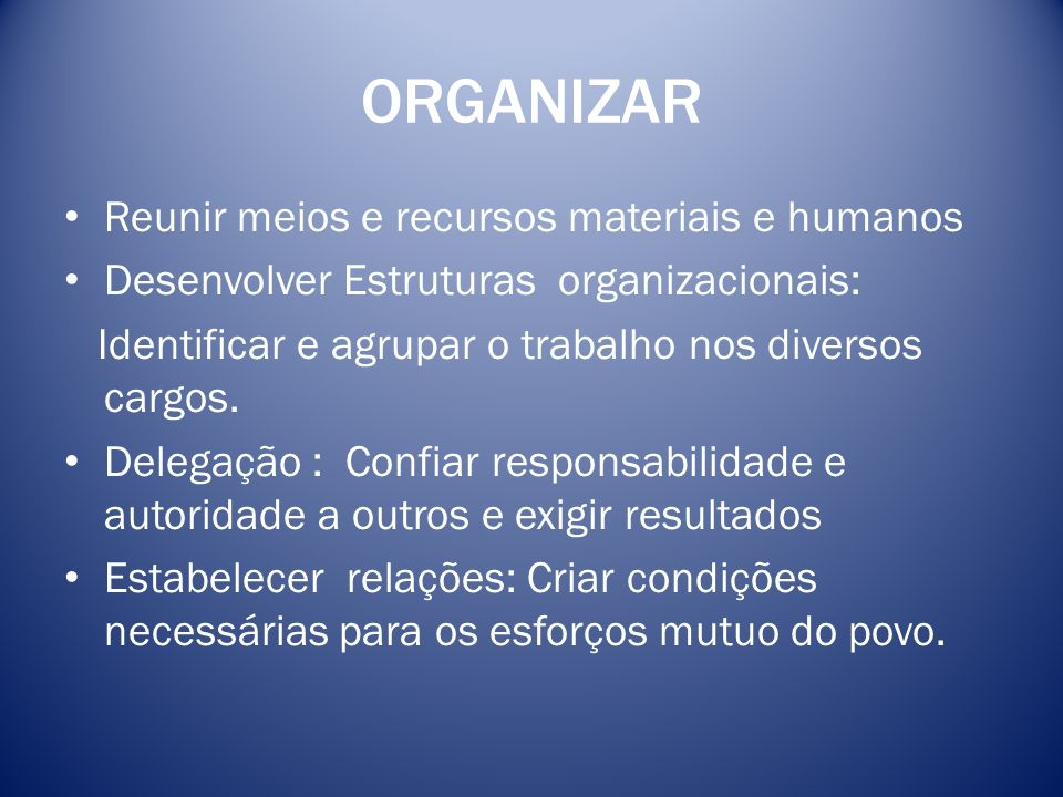 ORGANIZAR Reunir meios e recursos materiais e humanos