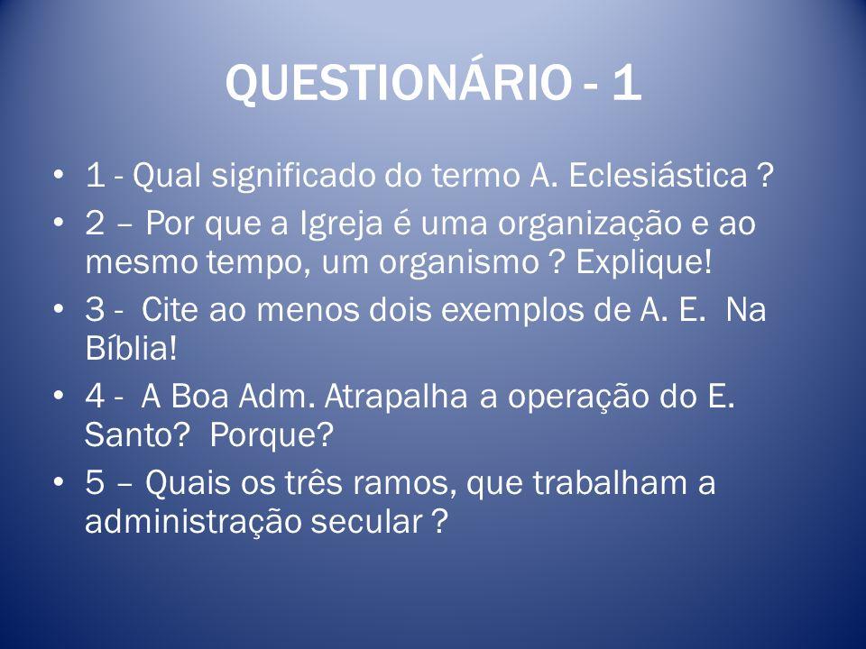 QUESTIONÁRIO - 1 1 - Qual significado do termo A. Eclesiástica