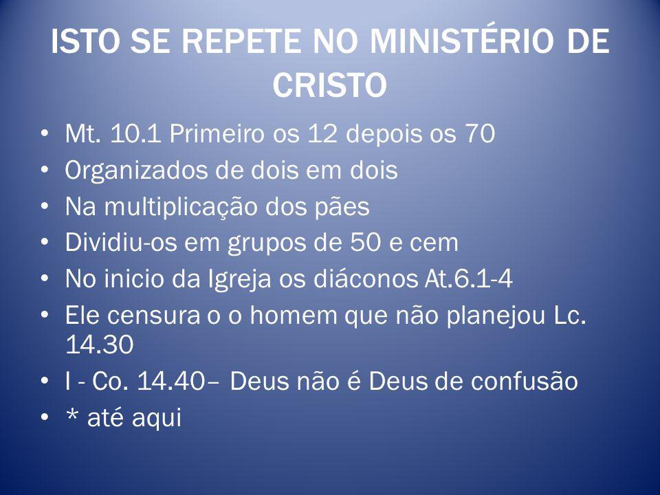 ISTO SE REPETE NO MINISTÉRIO DE CRISTO
