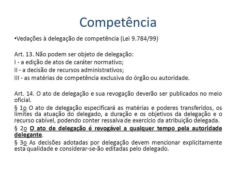 Competência Vedações à delegação de competência (Lei 9.784/99)