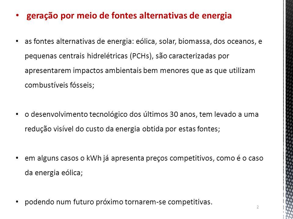 geração por meio de fontes alternativas de energia