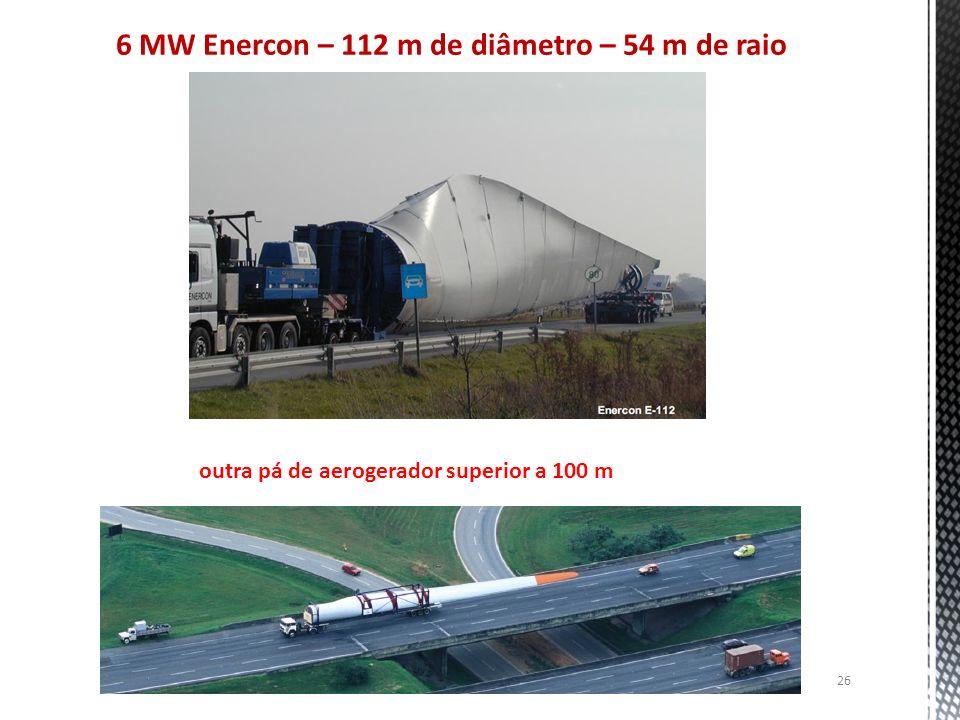 6 MW Enercon – 112 m de diâmetro – 54 m de raio