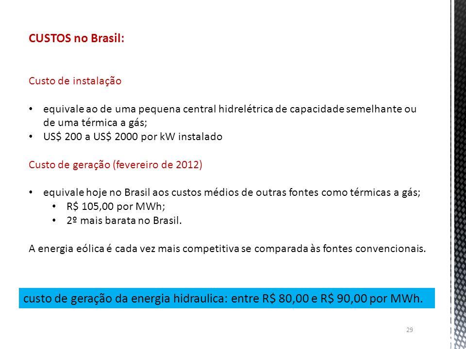 CUSTOS no Brasil: Custo de instalação. equivale ao de uma pequena central hidrelétrica de capacidade semelhante ou de uma térmica a gás;