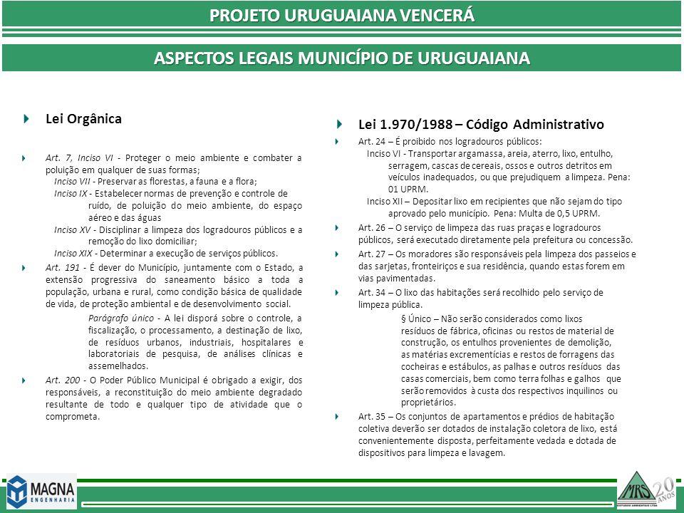 PROJETO URUGUAIANA VENCERÁ ASPECTOS LEGAIS MUNICÍPIO DE URUGUAIANA