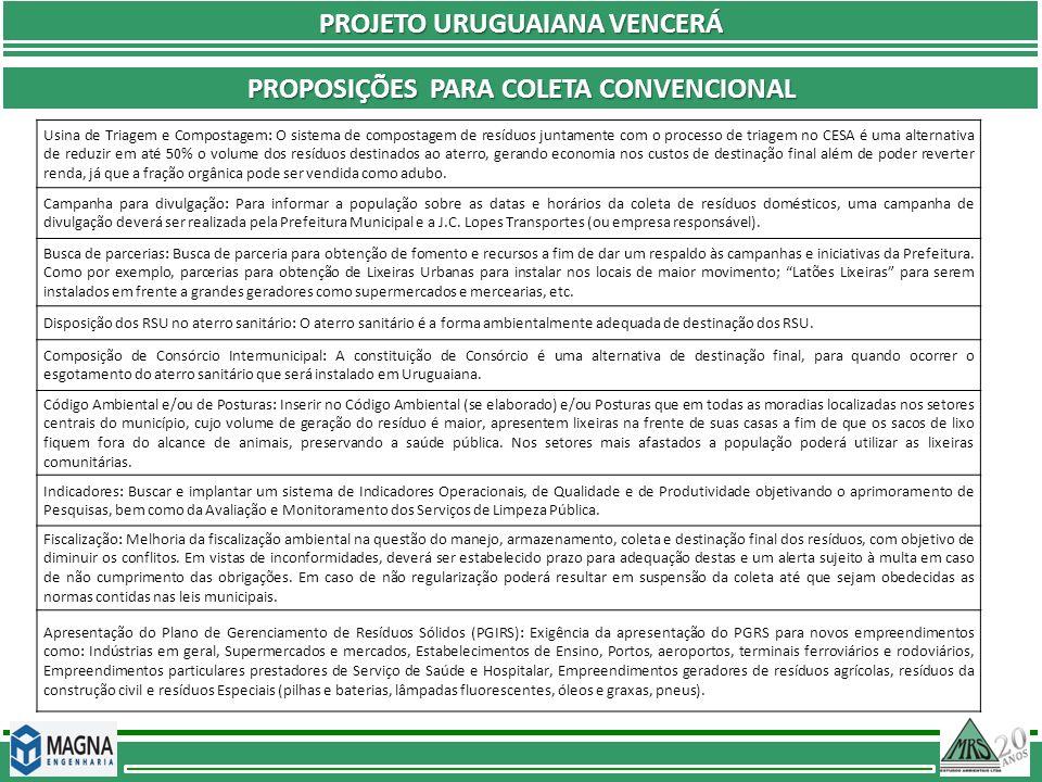 PROJETO URUGUAIANA VENCERÁ Proposições Para coleta convencional