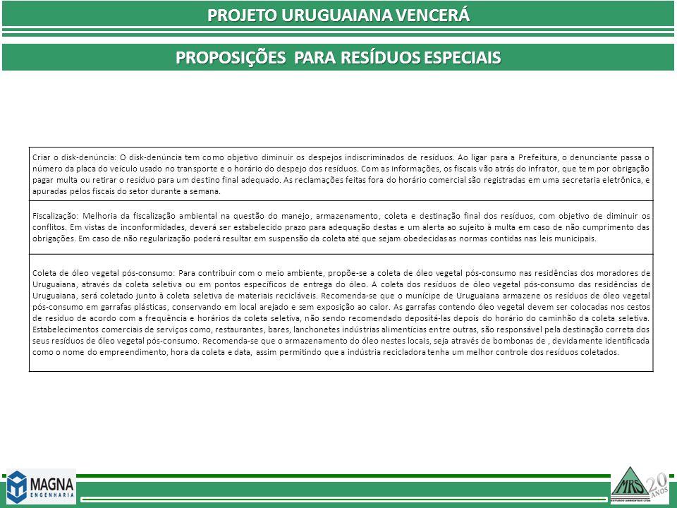 PROJETO URUGUAIANA VENCERÁ Proposições Para resíduos especiais