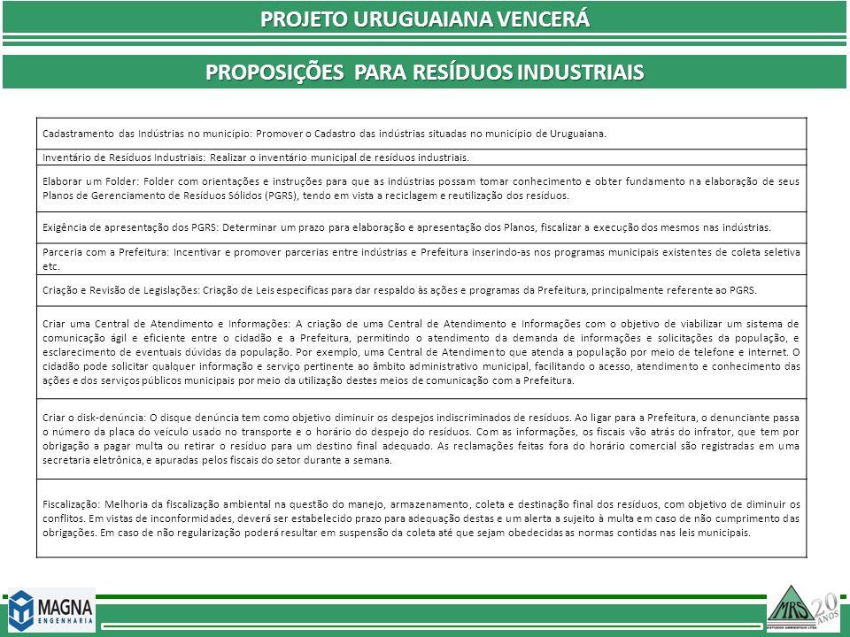 PROJETO URUGUAIANA VENCERÁ Proposições Para resíduos industriais