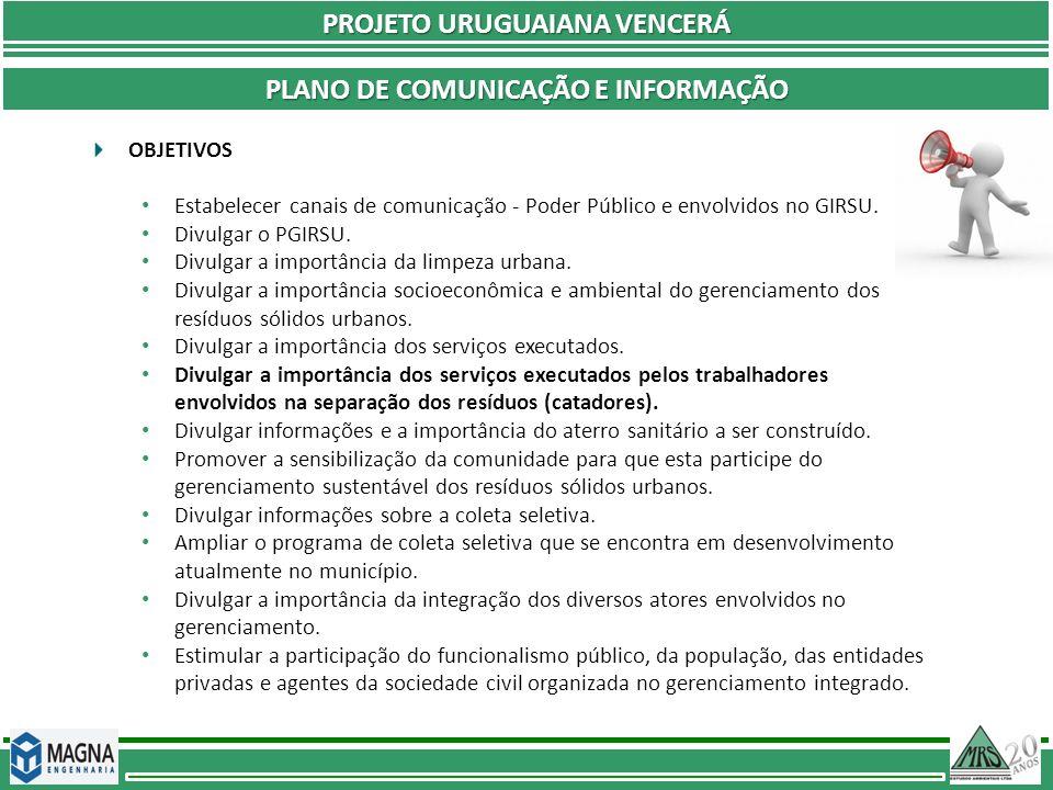 PROJETO URUGUAIANA VENCERÁ Plano de comunicação e informação