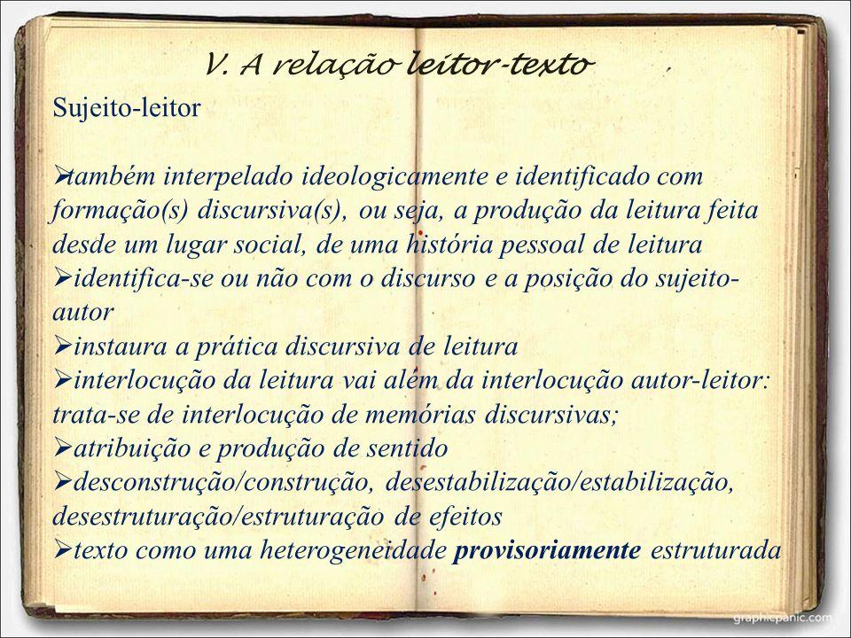 V. A relação leitor-texto