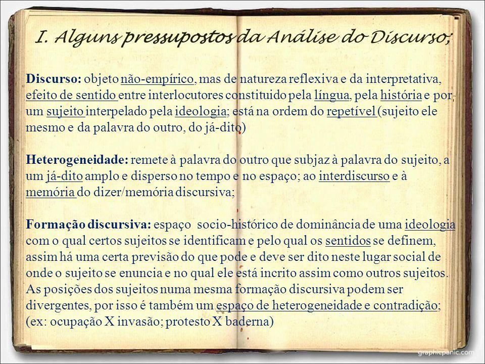 I. Alguns pressupostos da Análise do Discurso;