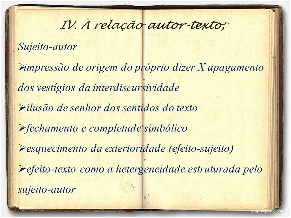 IV. A relação autor-texto;
