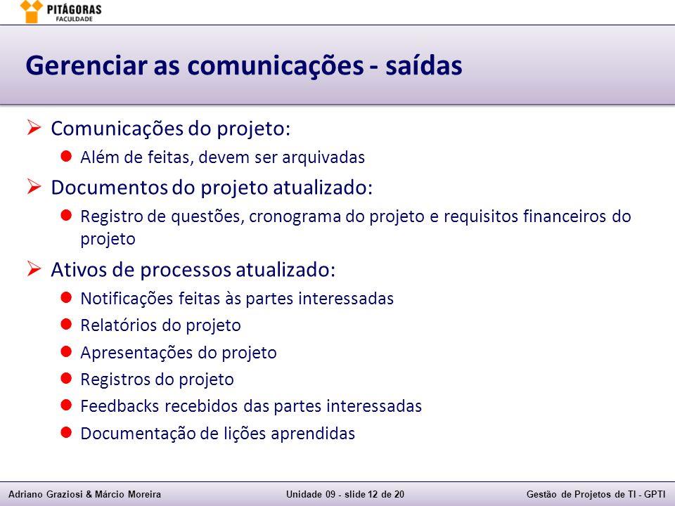 Gerenciar as comunicações - saídas