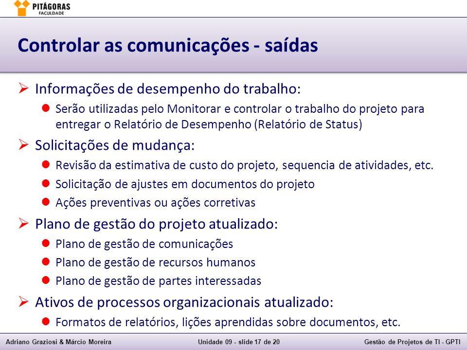 Controlar as comunicações - saídas