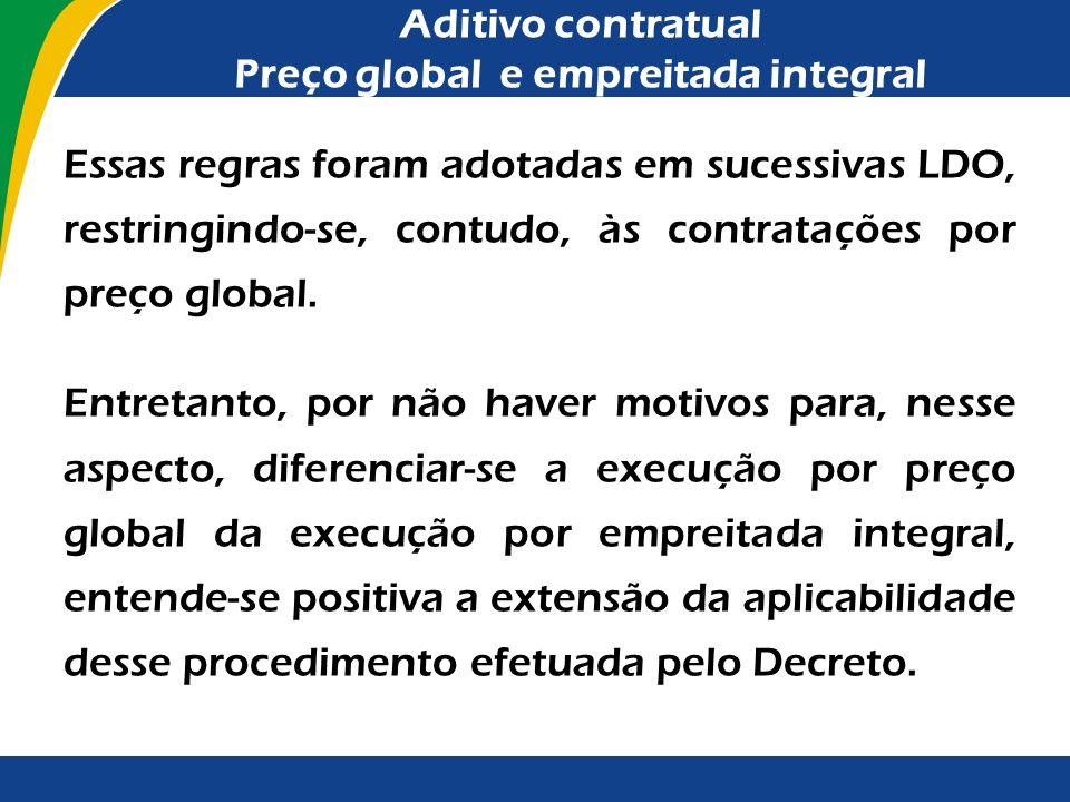 Aditivo contratual Preço global e empreitada integral
