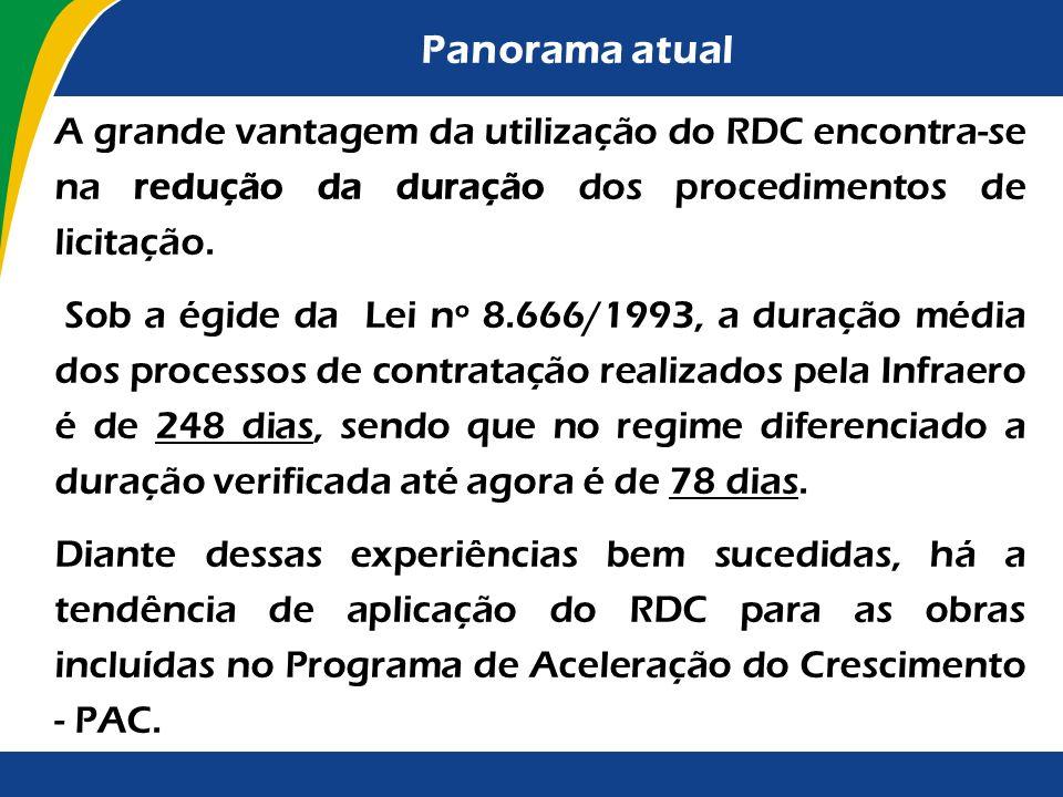 Panorama atual A grande vantagem da utilização do RDC encontra-se na redução da duração dos procedimentos de licitação.