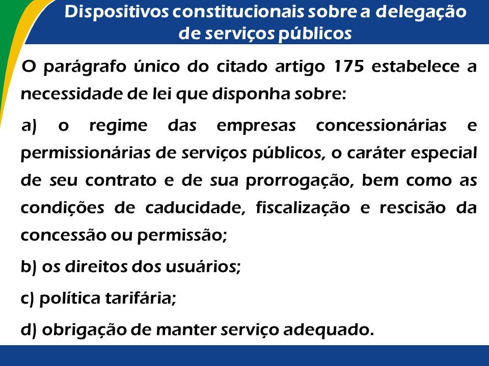 Dispositivos constitucionais sobre a delegação de serviços públicos