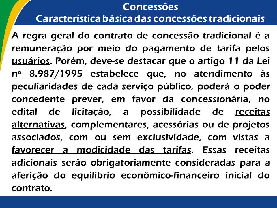 Concessões Característica básica das concessões tradicionais