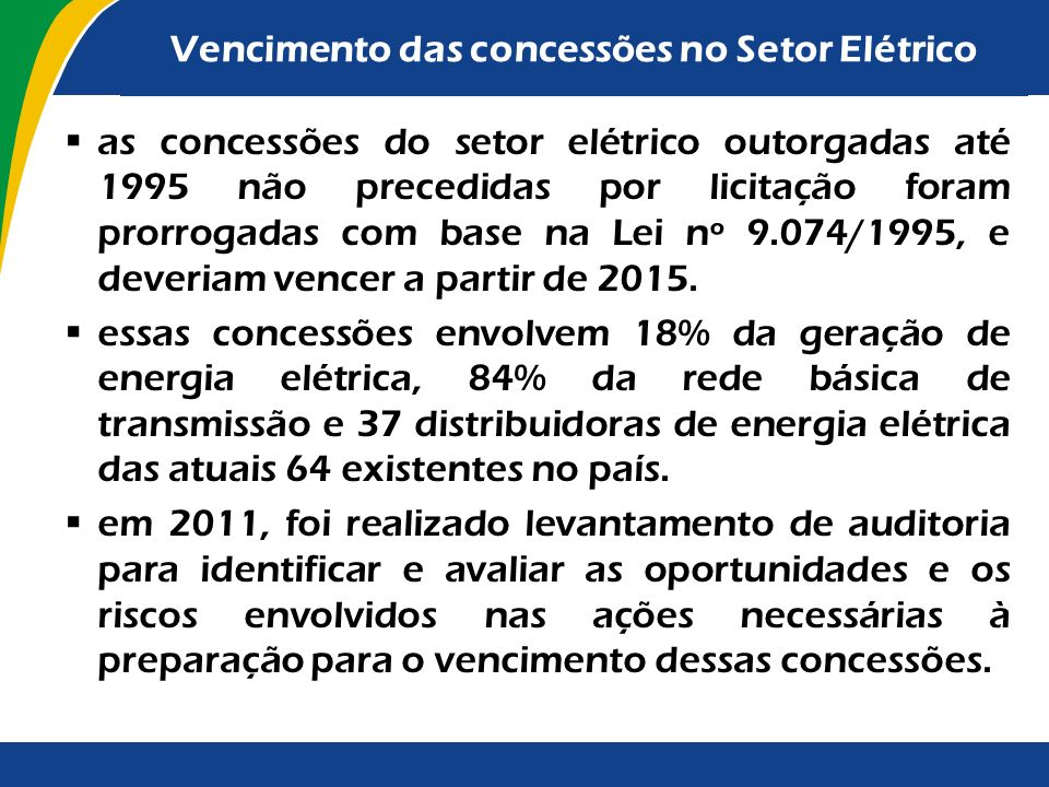 Vencimento das concessões no Setor Elétrico
