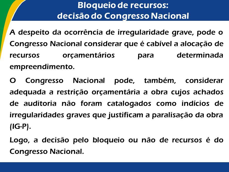 Bloqueio de recursos: decisão do Congresso Nacional