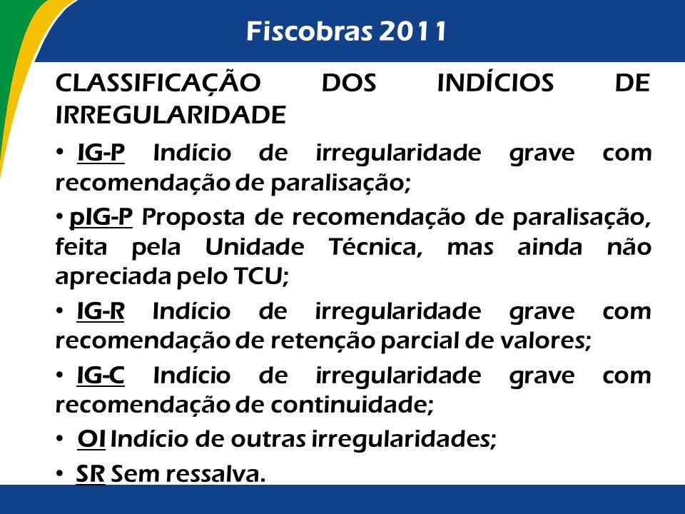Fiscobras 2011 CLASSIFICAÇÃO DOS INDÍCIOS DE IRREGULARIDADE