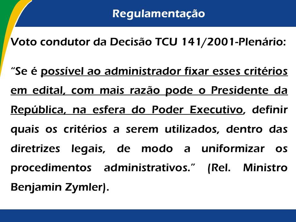 Voto condutor da Decisão TCU 141/2001-Plenário: