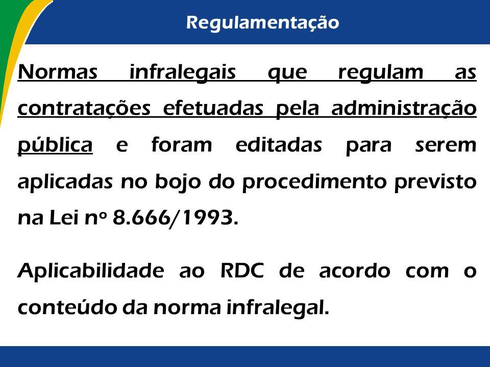 Aplicabilidade ao RDC de acordo com o conteúdo da norma infralegal.