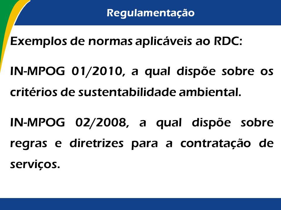 Exemplos de normas aplicáveis ao RDC: