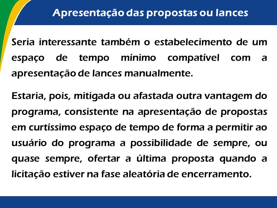 Apresentação das propostas ou lances