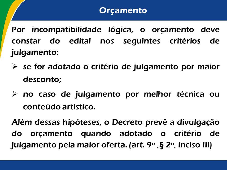 Orçamento Por incompatibilidade lógica, o orçamento deve constar do edital nos seguintes critérios de julgamento: