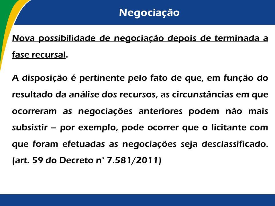 Negociação Nova possibilidade de negociação depois de terminada a fase recursal.