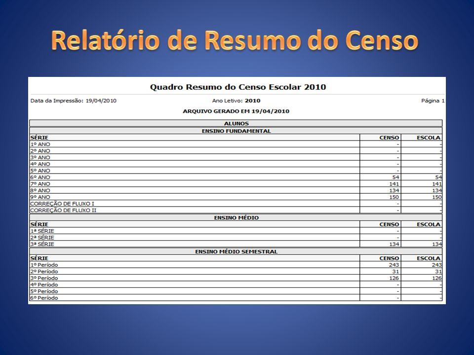 Relatório de Resumo do Censo
