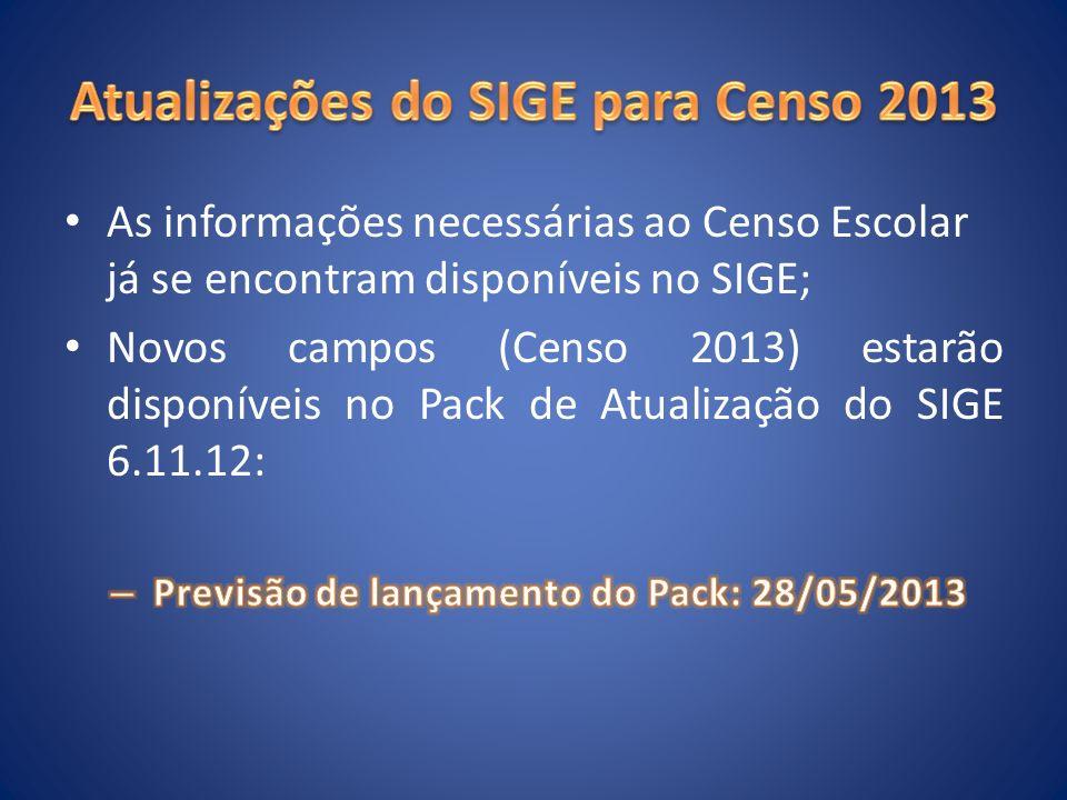 Atualizações do SIGE para Censo 2013