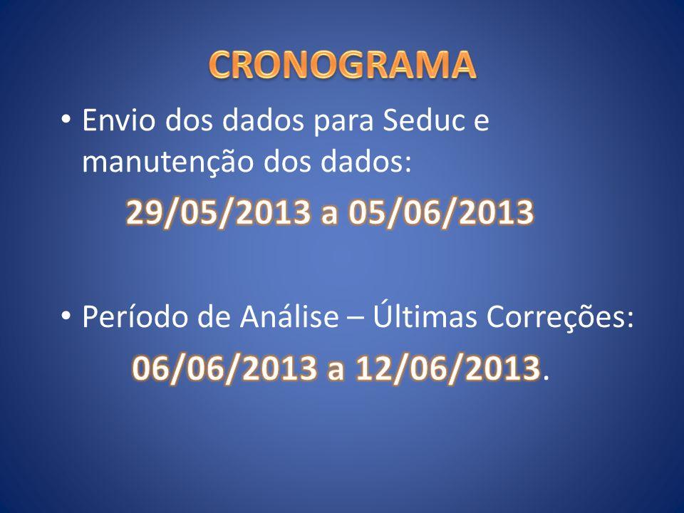 CRONOGRAMA 29/05/2013 a 05/06/2013 06/06/2013 a 12/06/2013.