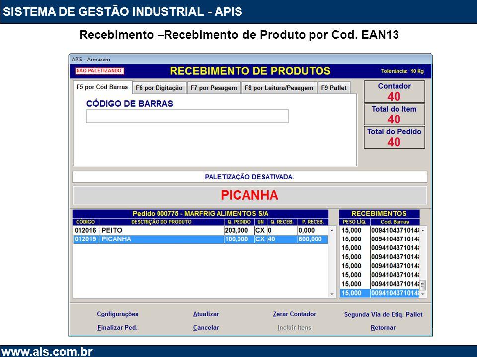 Recebimento –Recebimento de Produto por Cod. EAN13