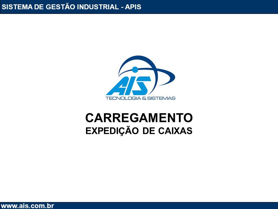 CARREGAMENTO EXPEDIÇÃO DE CAIXAS SISTEMA DE GESTÃO INDUSTRIAL - APIS