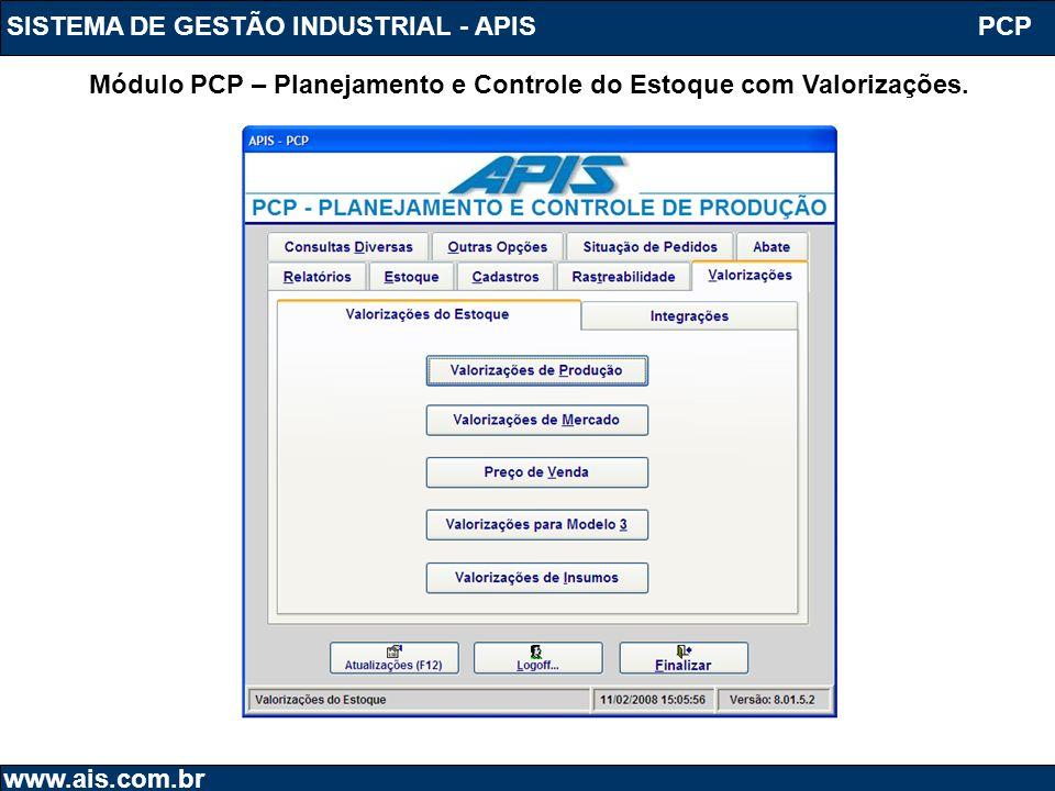 Módulo PCP – Planejamento e Controle do Estoque com Valorizações.