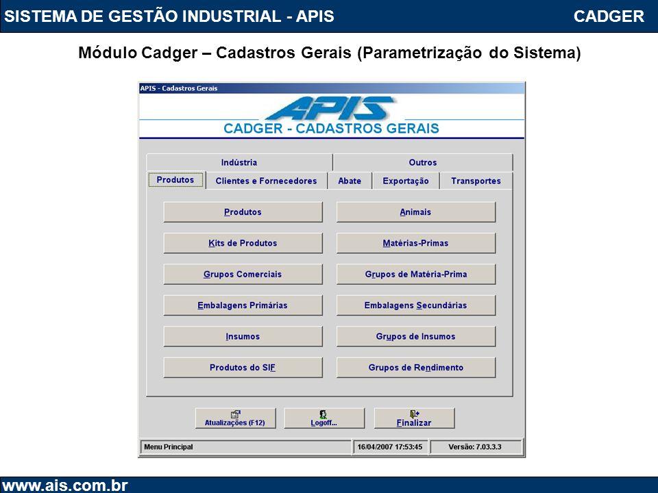Módulo Cadger – Cadastros Gerais (Parametrização do Sistema)