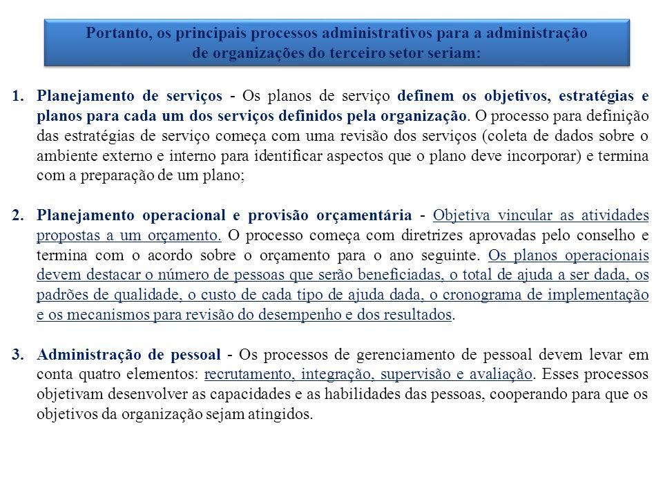 Portanto, os principais processos administrativos para a administração