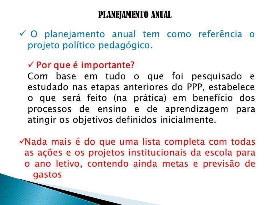 PLANEJAMENTO ANUAL O planejamento anual tem como referência o projeto político pedagógico.