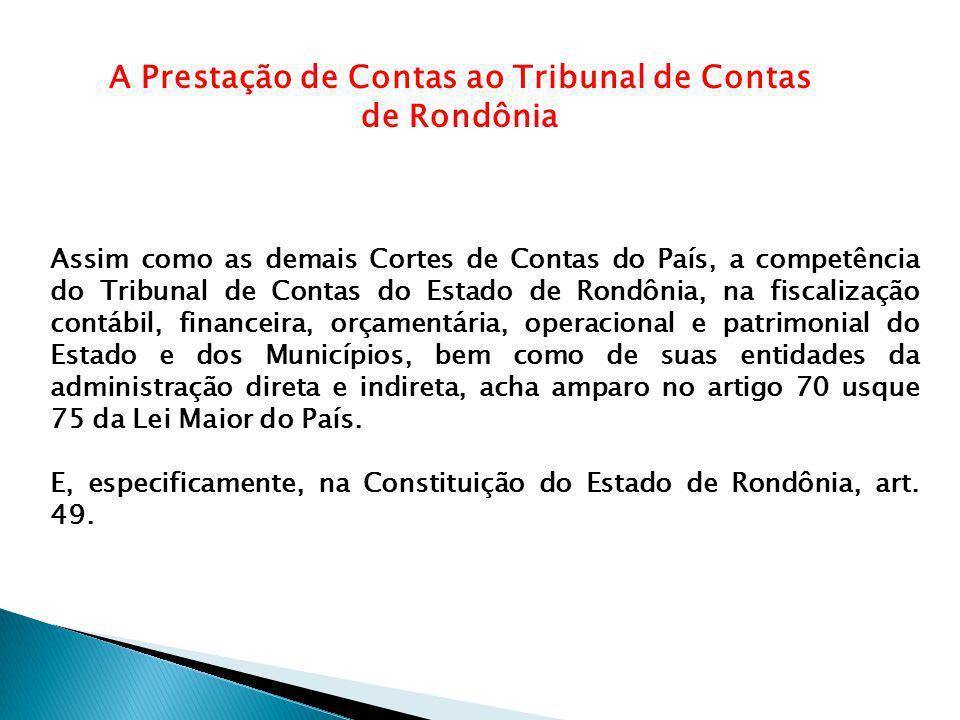 A Prestação de Contas ao Tribunal de Contas de Rondônia