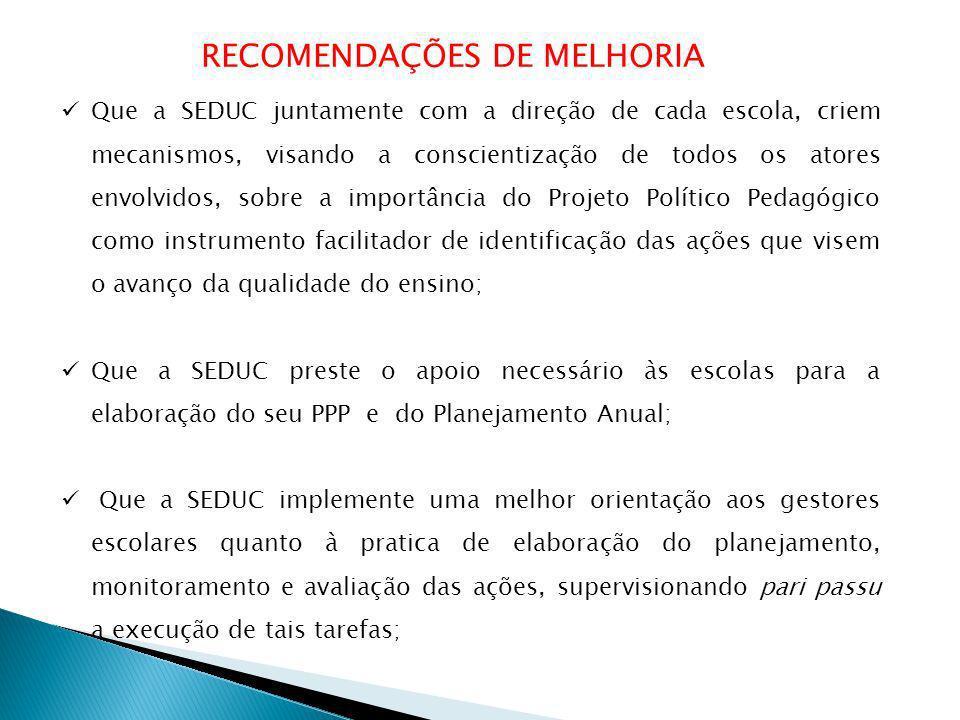 RECOMENDAÇÕES DE MELHORIA