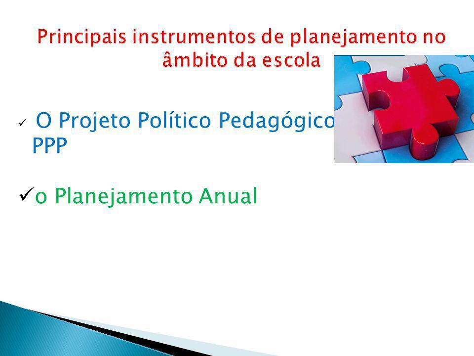 Principais instrumentos de planejamento no âmbito da escola