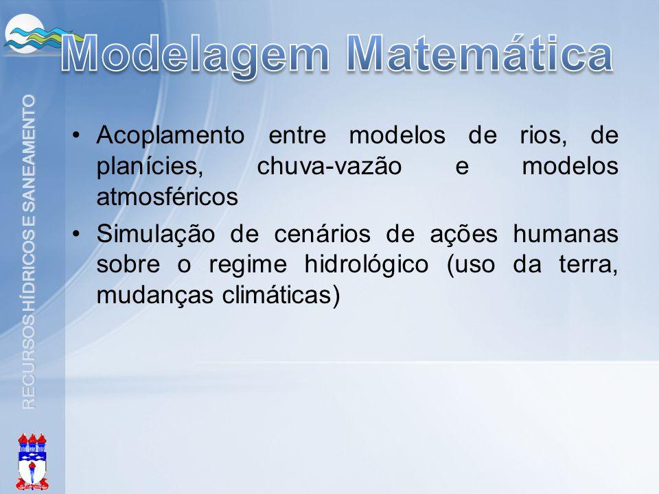Modelagem Matemática Acoplamento entre modelos de rios, de planícies, chuva-vazão e modelos atmosféricos.